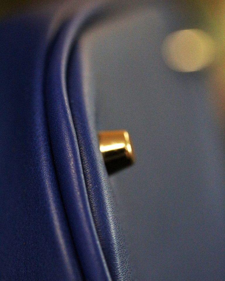 sac main seau cuir bleu ofilducuir maroquinerie lyon clous de fond