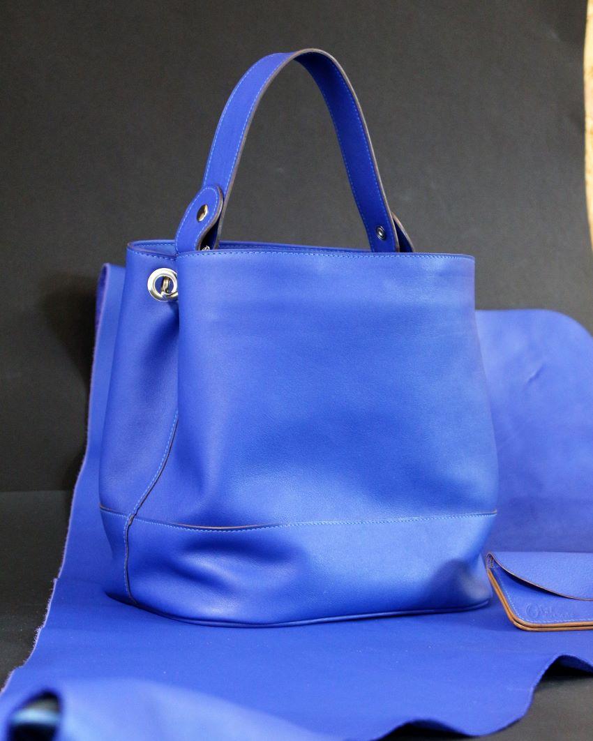 sac main seau cuir bleu ofilducuir