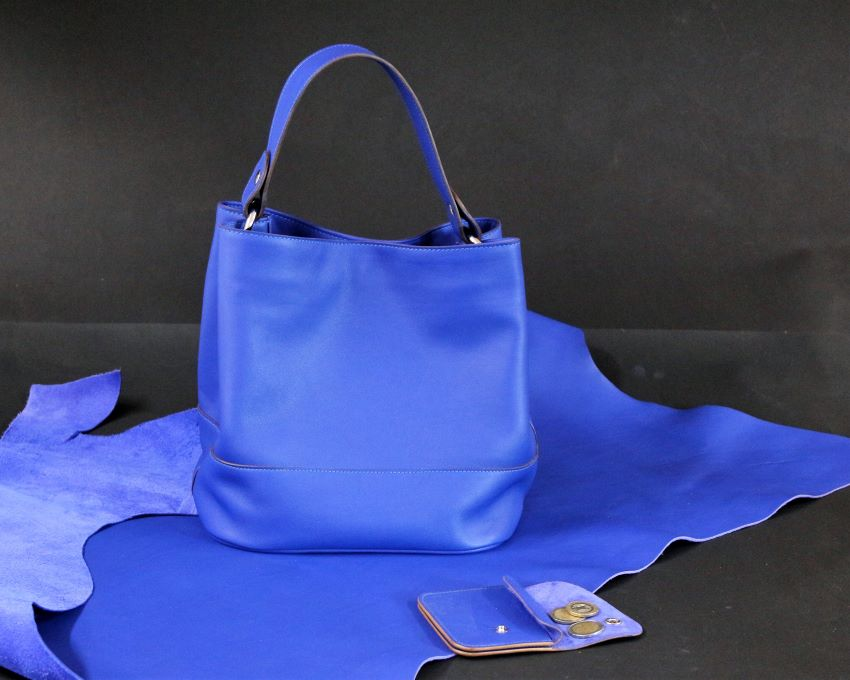 sac main seau cuir bleu ofilducuir maroquinerie lyon femme