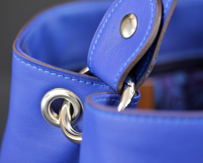 sac main seau cuir bleu ofilducuir maroquinerie lyon