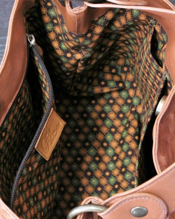 Sac à main seau en cuir nubuck marron Lyon Ofilducuir tissu africain