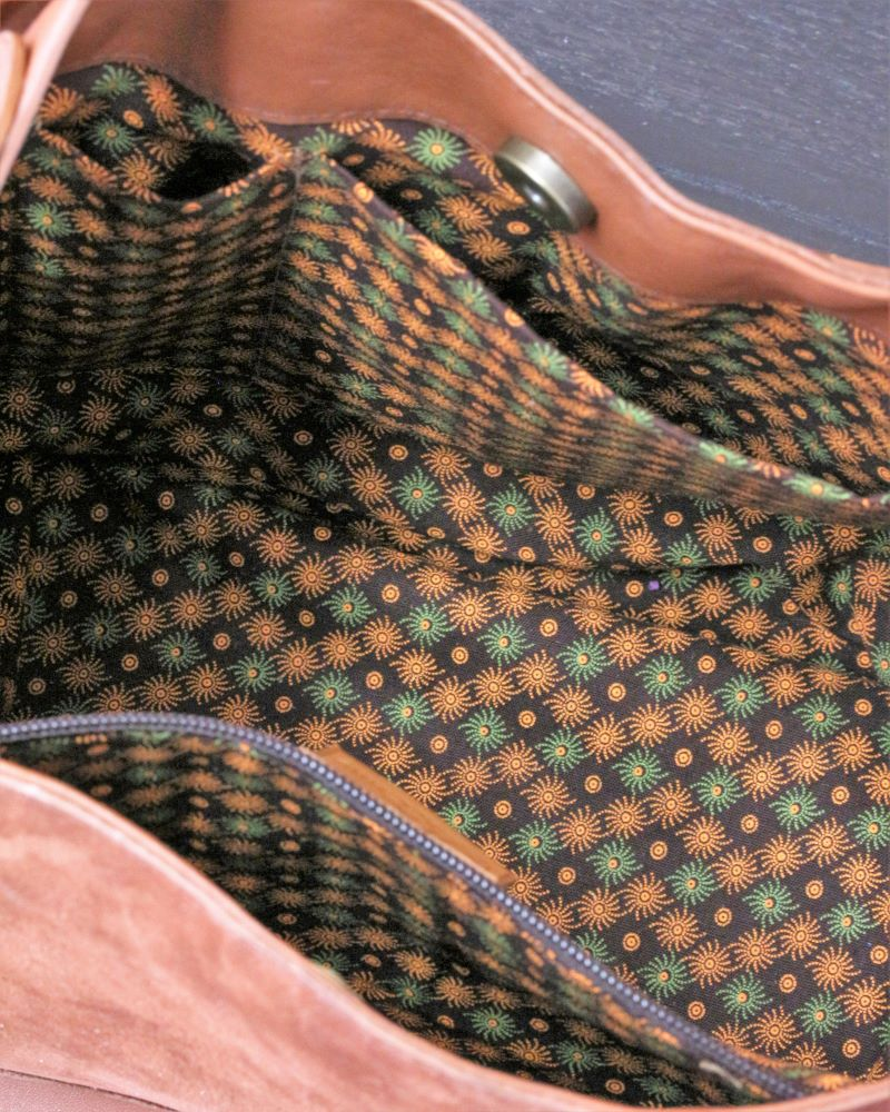 Sac à main seau en cuir nubuck marron Lyon Ofilducuir tissu africain coton